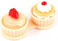 Контейнер для линз Cupcake Пирожное бежевое